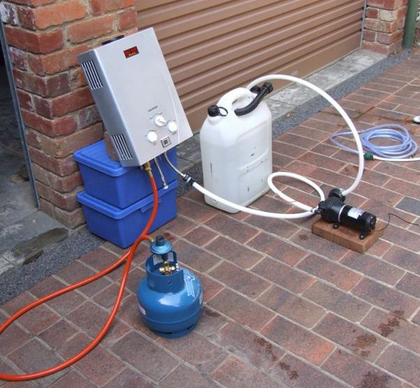 gas water heater for hot showers when camping
